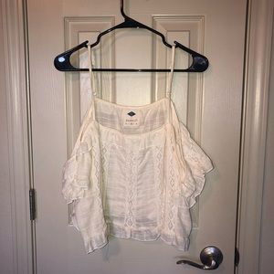 Strappy off the shoulder sleeve cream top